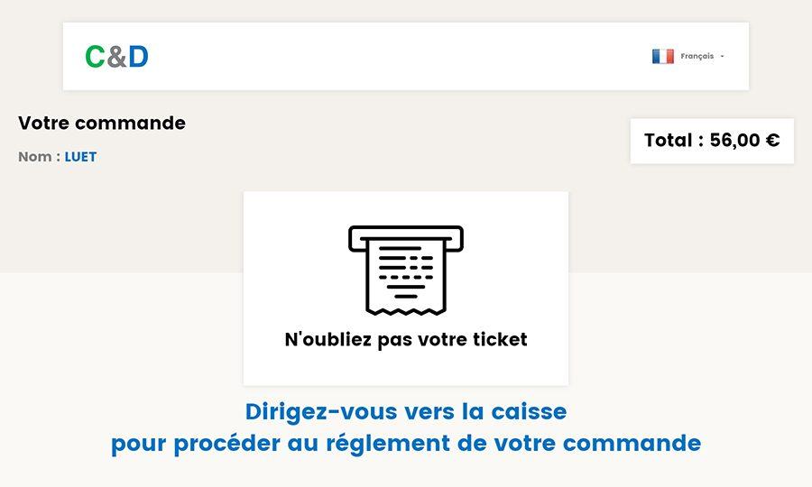 Ticket pour règlement en caisse